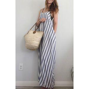 Beachy Boho Blue & White Striped Maxi Dress